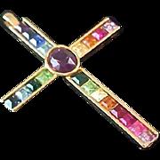 Square Cut Swarovski Varied Colors Gold Plate Cross Pendant swarovski