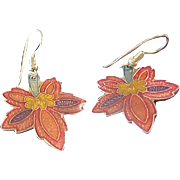 Enamel Floral  Laminated French Wiire Earrings