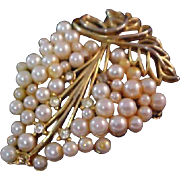 Simulated Pearls GRAPES & Grape Leaf Brooch