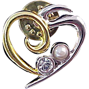 "Gold & Silver Plate HEART"" Brooch/Tac"