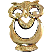 Heavy Gold-Plate Cut Crafted ~Figural OWL Brooch