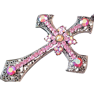Dynamic Jeweled~Pink-Blue Aurora Borealis CROSS PENDANT~Antiqued Silver Filigree Setting