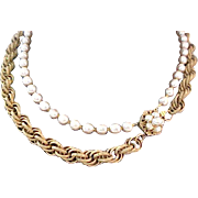 Enchanting MIRIAM HASKELL~2 Strands NIKI Pearls  &  RUSSIAN Gold Necklace~Sautoir Length