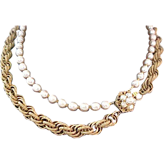 Enchanting MIRIAM HASKELL~2 Strands NIKI Pearls  &  RUSSIAN Gold Necklace~Sautoir Length