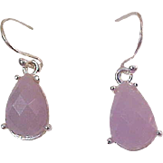 Amethyst Bezel MOONSTONE Pear Cut Glassl in Silver Plate French Wire Earrings