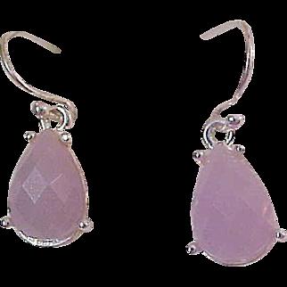 Amethyst Bezel MOONSTONE Pear Cut Glassl in Silver Plate French Wire Earrings