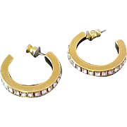 Lavish Eternity Diamante  CHATONS Hoop Post Earrings