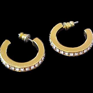 Lavish Eternity Diamante  CHATONS Hoop Post Earrings