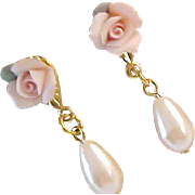 Lavish Tea  Roses ~Simulated pearl teardrop ~Porcelain Roses Dangle Post Earrings
