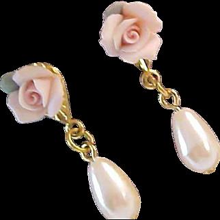 Lavish Tea  Roses ~Simulated pearl teardrop ~Porcelain Roses Dangle Post Earrings