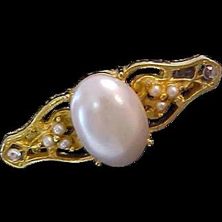 Victorian Style ~ Sim. Pearl & Tiny Seed Pearl Bar Pin
