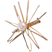 Mid Century Simulated Pearl On Half Shell Brooch