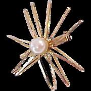 Mid Century Simulated Pearl On Half Shell Brooch
