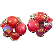 JUDY LEE Red Moonstone Clip Earrings