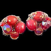JUDY LEE Red Moonstone Clip Earrings