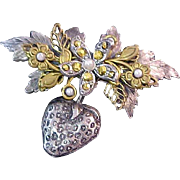 Estate Antiqued Silver Plate ~ Seed Pearls~ Gold Filigree  & Gold Aurum Marcasite  Brooch