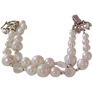 Simulated Pearls  & Faceted Crystal Two Strand Bracelet