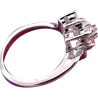 1930's Dome  Basket Setting ~ Cubic Zironia ~ Silver Plate Ring Size 7 1/2