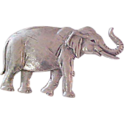 Antiqued Silver Plate ~ ELEPHANT (TRUNK UP) for  luck ~ Designer JJ