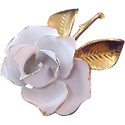 SOlid Metal w/Gold Etching WHITE ROSE Brooch/Pin