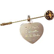 Lavish Gold Plate ~  Heart Dangle~ Floral STICK Pin