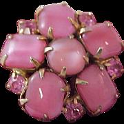 Rose Pink Moonstones ~ Pink Sapphire Rhinestones Brooch