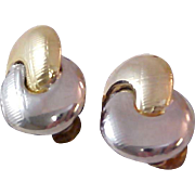 1950's SILVER & GOLD Plate Fashion Clip Earrings