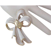 White Silver &Gold Plate :Precious BOW Brooch
