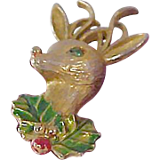 """Once Upon a Time "" ~ Designer GERRYS Rudolph Christmas Reindeer/Accented Green & Red  Sprigs of HOLLY Brooch"
