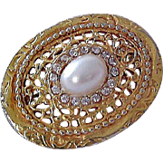 Filigree Open : Oval Faux Pearl~Diamante Crystal Brooch