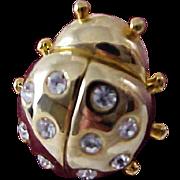 Swarvoski Crystal ~ Gold Plate LADY BUG Lapel Pin