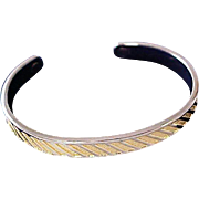 Charming Silver & Textured Gold Plate 1940's BANGLE
