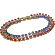 Patriotic Sparkly Swarovski Crystals in Red-Clear-Blue~3 Row  Gold Plate Bracelet