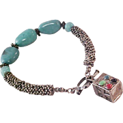 Glass Turquoise Beads ~ Silver plate Charm & Beads Bracelet