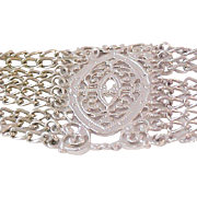 Nine Rows Silver Plate Ornate Bracelet