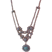 Simulated Turquoise  3 Strand Focal  FESTOON (BIB)  Silver Plate by Avon Necklace