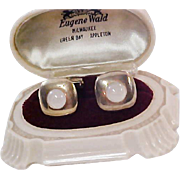 ANSON Designer ~ Moonstone Opal : Cuff inks : Circa 1950's