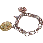 Awesome Serrenity & Praying Hands Gold Plate CHARM Bracelet