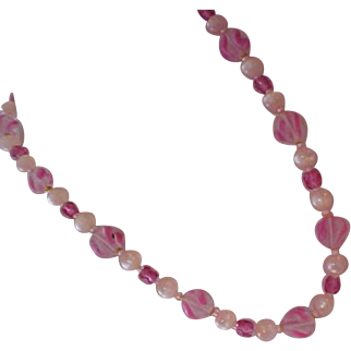 1940's GLASS Pink & White  Swirled~Pink Moonstones~Medium Pink Beads Hand Knotted Necklace