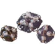 Iridescent  ORBS Hand Wired Beads Crafted in Repoousse Brass Demi-Parure~Brooch & Clip Earrings