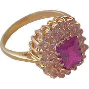 14K Gold Fill  ~ Lab Created Ruby & CZ Illusion Birthstone/Fashion RING