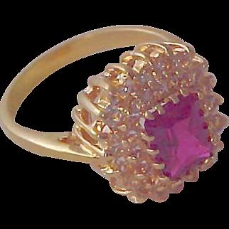 14K Gold Fill  ~ Lab Created Ruby & CZ Illusion Birthstone/Fashion RING