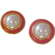 DESIGNER J.S.~Simulated Pearl Cabochon~Mauve Enamel~Post Earrings
