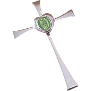 STERLING Cross~PERIDOT  Green Heart ~ Blessed Mother Encased ~ Built on Bale
