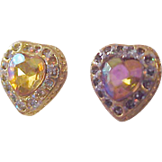 Bling!Heart-Cut~UNCOMMON  Amazing IIlluminous  Colorful CZ~ Gold Plate Post Earrings
