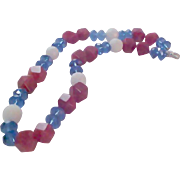 ART Glass Crystals~Red~White~Blue NecklaceSingle Strand