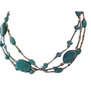 Southwestern Style ART Glass Spider TURQUOISE~3 Strand NECKLACE ~