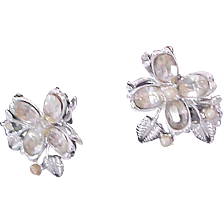 Crafted in silver plate~ Tiny Seed Pearls. Diamante Shamrock Illusion Earrings