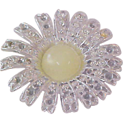 Beautiful Lemon Yellow Moonstone~Silver Plate Brooch