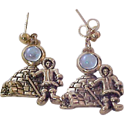 Charming Little Eskimos Antiqued Gold Plate Blue Moonstone Earrings